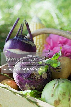 Basket of produce, close-up
