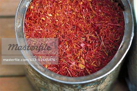 Saffron in container, close-up