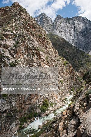 Mountain stream coursing through rocky landscape, Kings Canyon National Park, California, USA