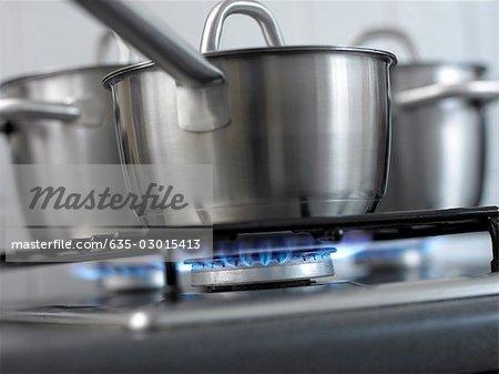 Close up of pan and burner flame