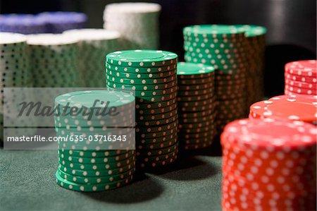 Close up of stacks of gambling chips