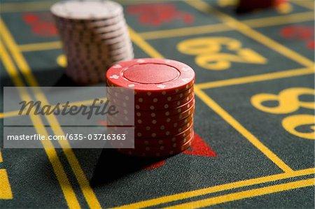 Close up of gambling chips