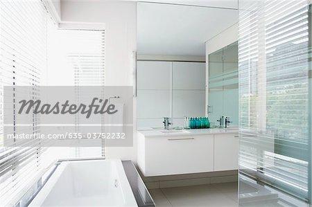 Glass walls and bathtub in elegant bathroom