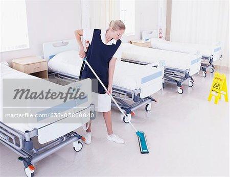 Orderly Mopping Hospital Floor Stock Photo Masterfile Premium