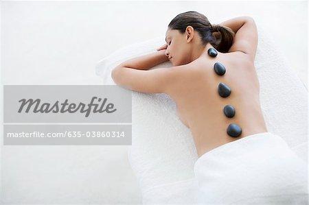 Woman enjoying lastone therapy