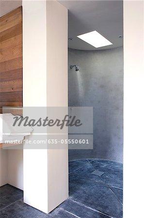 Open shower in modern bathroom