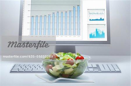 Bowl of salad at computer desk