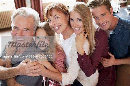 Portrait of smiling multi-generation family