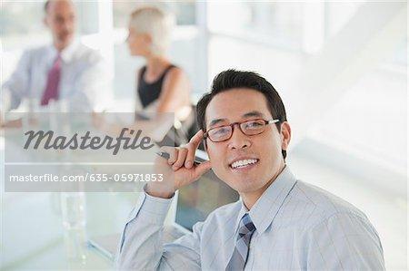 Businessman at desk in meeting