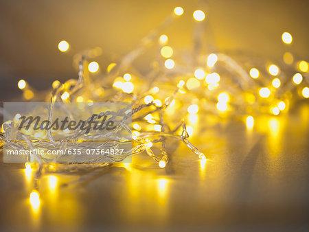 Pile of illuminated string lights