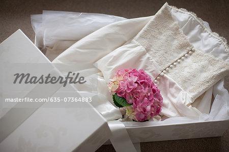 Pink hydrangea on wedding dress  in box