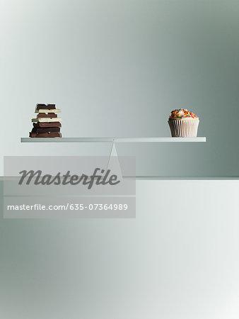 Chocolate bars and Cupcake balanced on seesaw