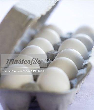 Close-up of eggs in an egg carton