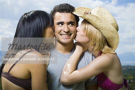 kiss between man and woman