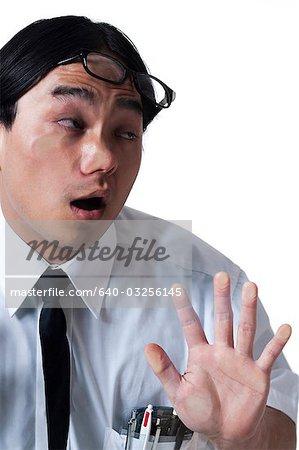 Business Man Walking Into Glass Door Stock Photo Masterfile