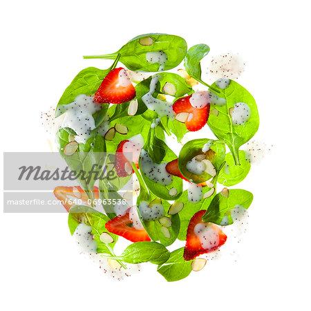 Strawberry salad on white background
