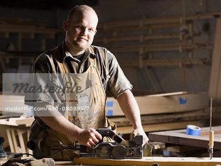 man in a woodshop