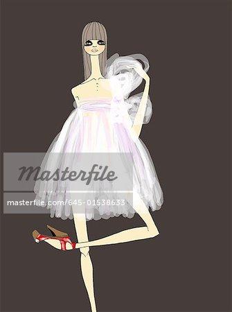 Woman dressed ballerina style