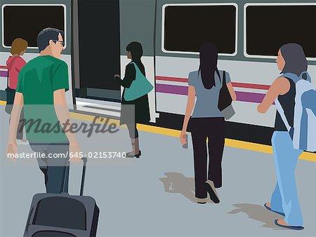 Travelers walking at metro station