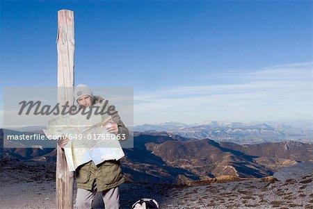 Man looking at a map.