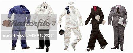 A series of vocational uniforms