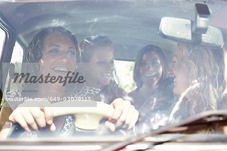 Friends packing a car
