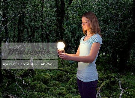 girl with energy saving light bulb