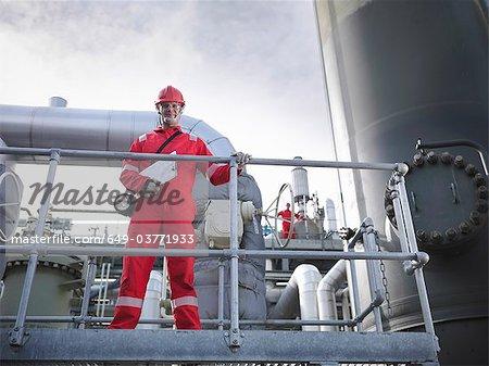 Workers on underground gas storage plant