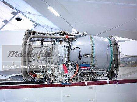 Jet engine in an aircraft hangar