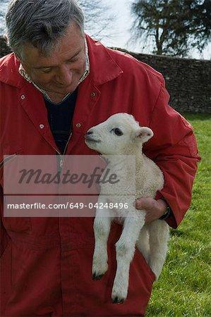 Farmer carrying lamb outdoors