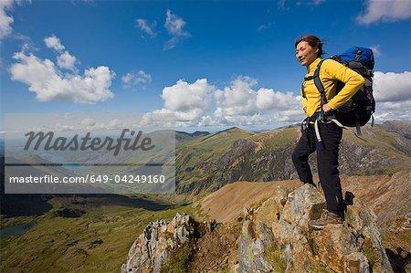 Hiker overlooking landscape