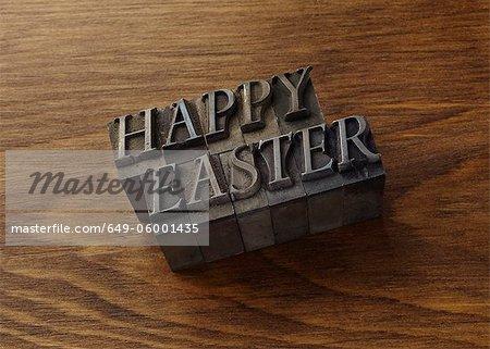 "Lead type spelling ""Happy Easter"""