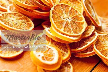 Close up of dried orange slices