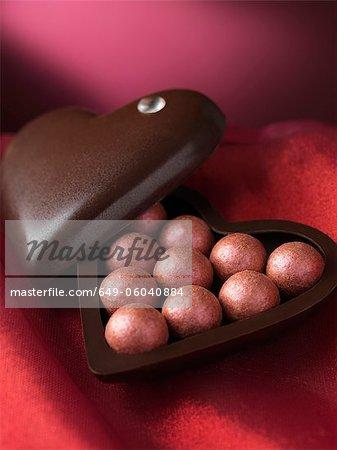 Close up of chocolates in decorative box