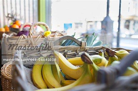 Close up of basket of bananas