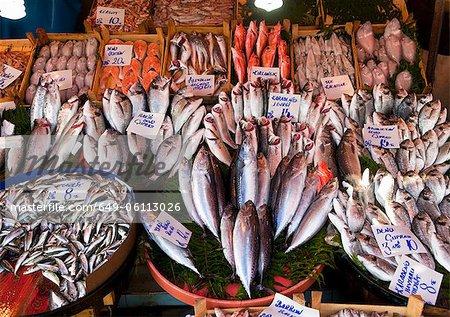 Fresh fish for sale, Galata bridge fish market, Istanbul, Turkey