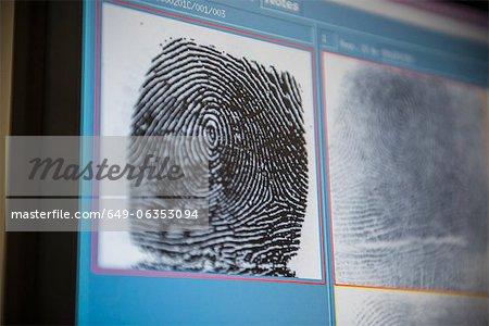 Fingerprints on screen in forensic lab