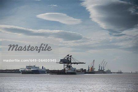 Cranes in industrial harbor