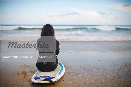 Surfer sitting on board on beach