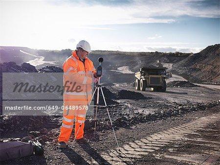 Ecologist listening to coal mine