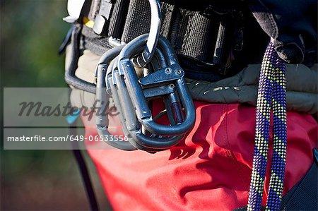 Close up of rock climbers carabiners