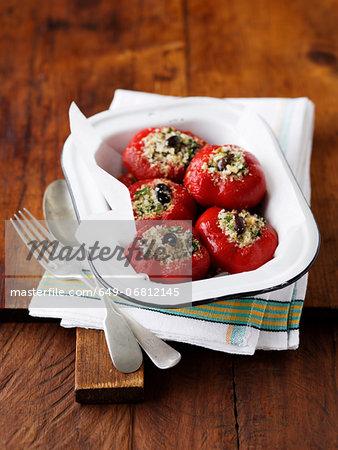 Stuffed red capisicum peppers