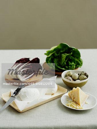 Bocconcini cheese, radicchio, butter lettuce, quail eggs and parmesan