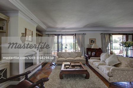 Luxury living room in wealthy home
