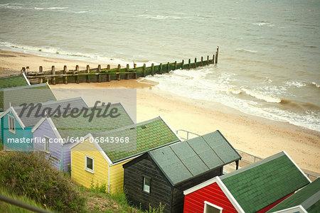 Beach huts by the sea, Southwold, Suffolk, UK