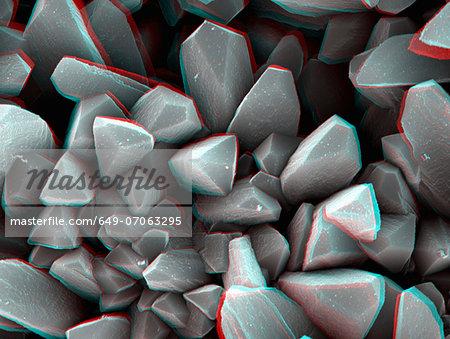 3D SEM image of crystal, 8 degree tilt