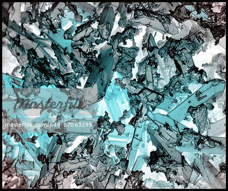 Indicolite corrosion crystals, inverted color, SEM