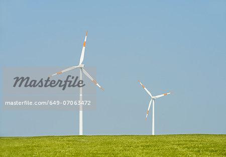 Two wind turbines, Selfkant, Germany