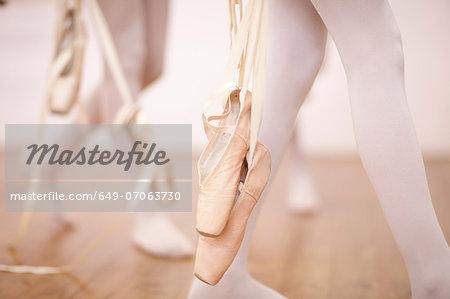 Detail of ballerinas legs leaving dance studio