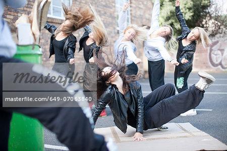 Group of girls breakdancing in carpark